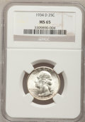 Washington Quarters: , 1934-D 25C Medium Motto MS65 NGC. NGC Census: (132/42). PCGSPopulation (231/71). Mintage: 3,527,200. Numismedia Wsl. Price...