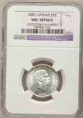 Coins of Hawaii: , 1883 25C Hawaii Quarter--Improperly Cleaned--NGC Details. Unc. NGC Census: (4/731). PCGS Population (7/1059). Mintage: 500,...