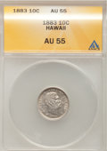 Coins of Hawaii: , 1883 10C Hawaii Ten Cents AU55 ANACS. NGC Census: (31/147). PCGS Population (42/166). Mintage: 250,000. (#10979)...