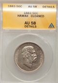 Coins of Hawaii: , 1883 50C Hawaii Half Dollar--Cleaned--ANACS. AU58 Details. NGCCensus: (55/146). PCGS Population (41/209). Mintage: 700,000...