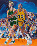 Basketball Collectibles:Others, Magic Johnson and Larry Bird Dual Signed Original Painting -Enormous!...