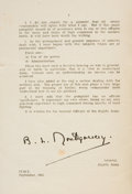 "Autographs:Non-American, Montgomery of Alamein Printed Pamphlet Signed, ""To/R.G.Casey/Minister of State/Middle East/a great friend of the/EighthA..."