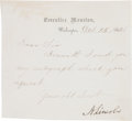 "Autographs:U.S. Presidents, Abraham Lincoln Letter Signed ""A. Lincoln"" as president onExecutive Mansion letterhead. One page, trimmed to 5"" x 4.5"",..."