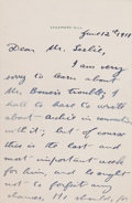 "Autographs:U.S. Presidents, Theodore Roosevelt Autograph Letter Signed ""TheodoreRoosevelt."" One and one-half pages, 4.5"" x 7"", Sagamore Hillemboss... (Total: 2 Items)"
