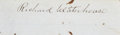 """Autographs:Military Figures, Confederate General Richard Waterhouse Clipped Signature """"Richard Waterhouse"""". 3.25"""" x 1"""", mounted to a larger backing...."""