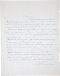 "Autographs:Authors, Maxim Gorky Autograph Letter Signed. One page, penned in Russian onrecto only, 8.5"" x 10.75"", Moscow, n.d. ..."