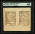 Colonial Notes:Rhode Island, Rhode Island May 1786 9d/2s6d Uncut Pair PMG Choice Uncirculated63.. ...