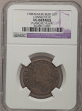 Colonials, 1788 COPPER Connecticut Copper, Mailed Bust Left--PlanchetFlaw--NGC Details. VG. Miller 12.2-E, R.6. NGC Census: (0/12...