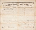 "Autographs:Statesmen, Sam Houston Land Grant Signed as governor of Texas. Onepartially-printed page, 14.75"" x 12.5"", Austin, July 23, 1860,grant..."
