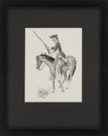 "Autographs:Artists, José Cisneros. Dragoon on Horseback. Original pen and inkdrawing. 8.75"" x 11.5"" (sight), matted and..."