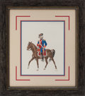 "Autographs:Artists, José Cisneros. Sp. ""Mexico Regt."" Dragoon 1792. Originalhand-colored drawing. 11"" x 13.75"" (sight), matted and fram..."