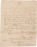 "Autographs:Statesmen, David Burnet Endorsement Signed on the verso of a Republic of Texasdocument entitled ""An Act."" One page, 8.5"" x 10.75"",..."