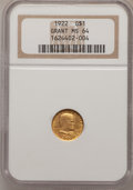 Commemorative Gold: , 1922 G$1 Grant No Star MS64 NGC. NGC Census: (280/600). PCGSPopulation (527/930). Mintage: 5,000. Numismedia Wsl. Price fo...
