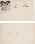 Autographs:Index Cards, Circa 1950 Jimmie Foxx & Mel Ott Signed Index Cards....
