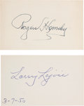 Autographs:Index Cards, Circa 1950 Nap Lajoie & Rogers Hornsby Signed Index Cards....