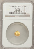 California Fractional Gold: , 1872 25C Indian Octagonal 25 Cents, BG-791, R.3, MS63 NGC. NGCCensus: (14/39). PCGS Population (74/110). (#10618)...