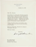 Autographs:Letters, 1956 Dwight Eisenhower Signed Letter to Phil Rizzuto....
