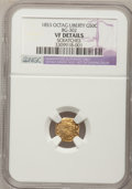 California Fractional Gold, 1853 50C Peacock Reverse 50 Cents, BG-302, Low R.4,--Scratches--NGCDetails. VF. NGC Census: (0/16). PCGS Population (1/103...