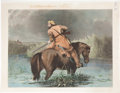 """Antiques:Posters & Prints, """"The Trapper's Last Shot"""": A Rare Large, Circa 1850 Hand ColoredEngraving...."""
