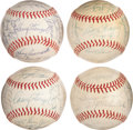 Autographs:Baseballs, 1962-65 New York Mets Team Signed Baseballs Lot of 4 from Casey Stengel Collection....