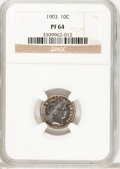 Proof Barber Dimes: , 1903 10C PR64 NGC. NGC Census: (62/91). PCGS Population (61/59).Mintage: 755. Numismedia Wsl. Price for problem free NGC/P...