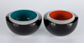 Decorative Arts, British:Other , A PAIR OF ENGLISH CASED GLASS BOWLS . Rachael Woodman (British,born 1957), circa 1997. Marks: Rachael Woodman, 1997, N.W....(Total: 2 Items)