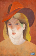 Impressionism & Modernism:post-Impressionism, BÉLA KÁDÁR (Hungarian, 1877-1955). Woman with Hat. Gouacheon paper. 18-1/2 x 11-3/4 inches (47.0 x 29.8 cm). Signed low...