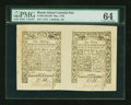 Colonial Notes:Rhode Island, Rhode Island May 1786 6d-1s Horizontal Pair PMG Choice Uncirculated64.. ...