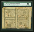 Colonial Notes:Pennsylvania, Pennsylvania October 25, 1775 Block of Four with serial number 31PMG About Uncirculated 50.. ...