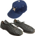 Baseball Collectibles:Hats, Early 1950's Tom Lasorda Game Cap and Cleats....
