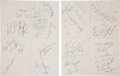Football Collectibles:Others, 1966-67 Green Bay Packers Team Signed Sheets and Super Bowl II Ticket Stubs (2)....