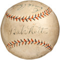 Autographs:Baseballs, 1931 New York Yankees Signed Baseball with Ruth, Gehrig....