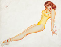 GEORGE PETTY (American, 1894-1975) Esquire Girl calendar pin-up, October 1956 Watercolor and airbrus