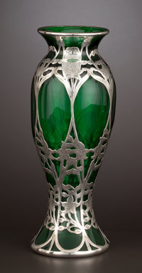 AN AMERICAN GLASS VASE WITH SILVER OVERLAY Glass maker unknown; silver by Alvin Corporation, Providence, Rhode