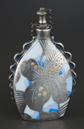 Silver Smalls:Other , A GERMAN PORCELAIN PERFUME BOTTLE WITH SILVER OVERLAY . RosenthalLtd, Selb, Germany, circa 1930. Marks: porcelain unmarked;...