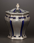 Ceramics & Porcelain, AN AMERICAN CERAMIC JAR WITH SILVER OVERLAY . Lenox, Trenton, New Jersey, circa 1920. Marks: porcelain marked LENOX (L ...