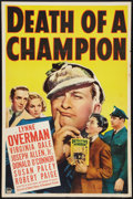 "Movie Posters:Comedy, Death of a Champion (Paramount, 1939). One Sheet (27"" X 41"").Comedy.. ..."