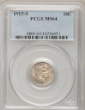 Barber Dimes: , 1915-S 10C MS64 PCGS. PCGS Population (46/21). NGC Census: (39/25).Mintage: 960,000. Numismedia Wsl. Price for problem fre...