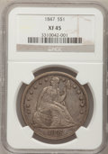 Seated Dollars: , 1847 $1 XF45 NGC. NGC Census: (43/256). PCGS Population (85/280).Mintage: 140,750. Numismedia Wsl. Price for problem free ...
