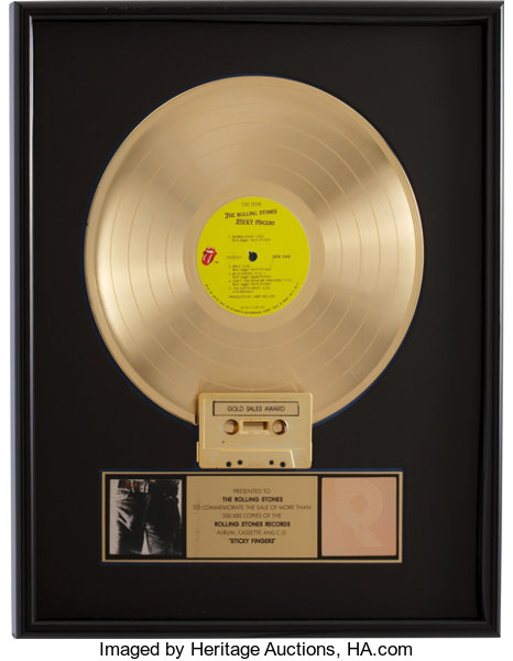 The Rolling Stones Sticky Fingers RIAA Gold Album Award