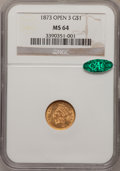 Gold Dollars: , 1873 G$1 Open 3 MS64 NGC. CAC. NGC Census: (203/55). PCGSPopulation (195/50). Mintage: 123,300. Numismedia Wsl. Price for...