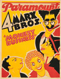 "Movie Posters:Comedy, Monkey Business (Paramount, 1931). Trolley Card (21"" X 27"").. ..."