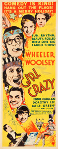 "Movie Posters:Comedy, Girl Crazy (RKO, 1932). Insert (14"" X 36"").. ..."