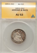 Seated Quarters: , 1853 25C Arrows and Rays AU53 ANACS. NGC Census: (31/569). PCGSPopulation (51/501). Mintage: 15,210,020. Numismedia Wsl. P...