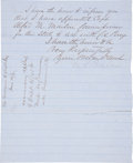 "Autographs:Statesmen, Milledge L. Bonham Letter Signed. One page written on recto andverso, 8"" x 10"", on blue-lined paper headed ""State ofSout..."
