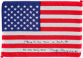 Explorers:Space Exploration, Apollo 11 Flown American Flag Originally from the PersonalCollection of Mission Lunar Module Pilot Buzz Aldrin, Signed andCe...