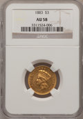 Three Dollar Gold Pieces: , 1883 $3 AU58 NGC. NGC Census: (28/57). PCGS Population (31/93).Mintage: 900. Numismedia Wsl. Price for problem free NGC/PC...