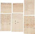 Miscellaneous:Ephemera, [Slavery]. Six Documents Related to the Brock Family of DuplinCounty, North Carolina. Includes three bills of sale for slav...(Total: 8 Items)