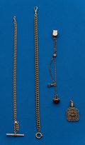 Timepieces:Watch Chains & Fobs, Four Pieces Total -Three Watch Chains & One Masonic Fob. ...(Total: 4 Items)
