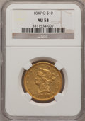 Liberty Eagles: , 1847-O $10 AU53 NGC. NGC Census: (114/234). PCGS Population(29/37). Mintage: 571,500. Numismedia Wsl. Price for problem fr...